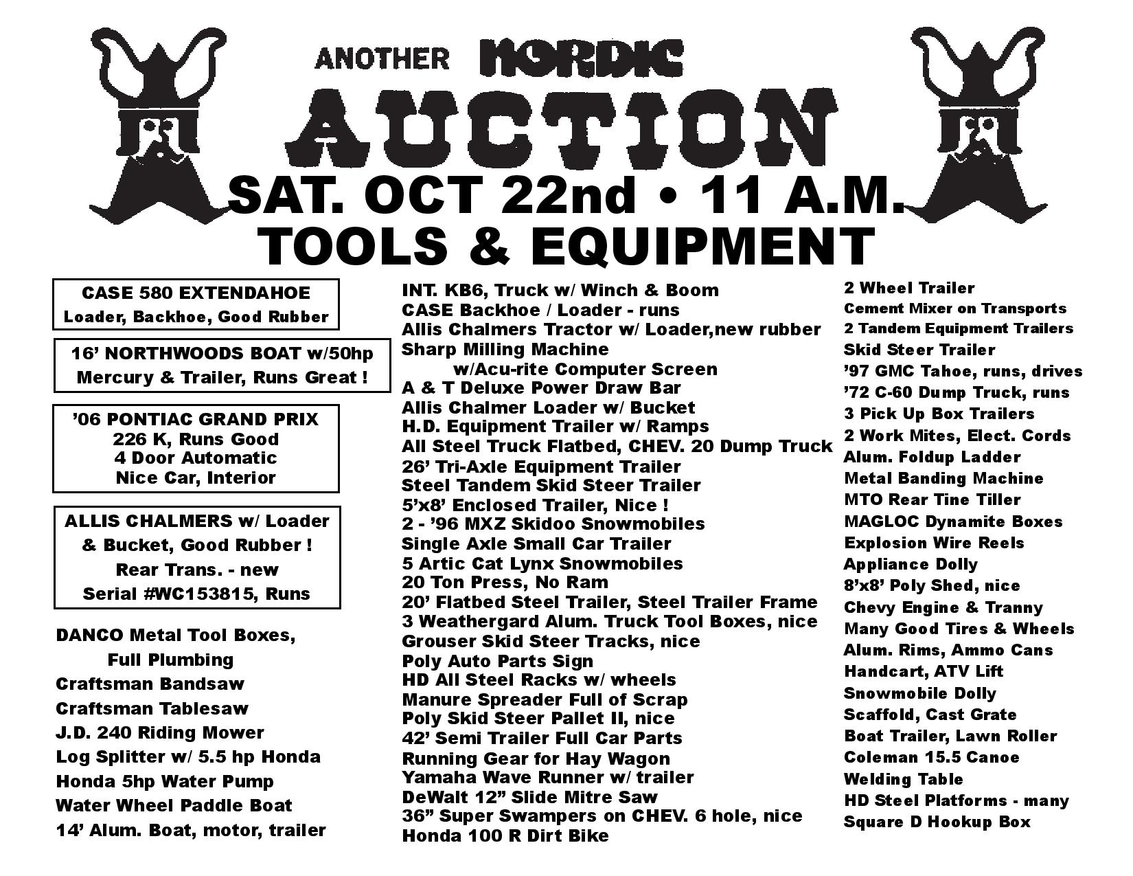 Huge Equipment Auction Oct 22 Culver Mn