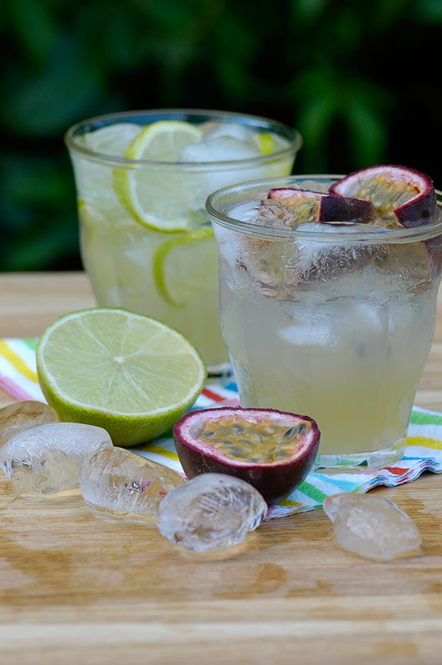 Ginger lemonade with lime and passion fruit