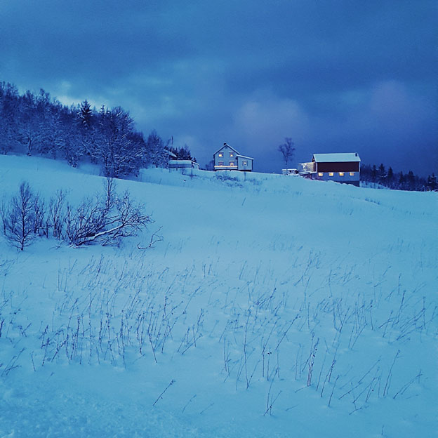 Farmhouse in the blue hour of the afternoon