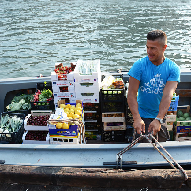 The fruit and vegetables arrive by boats