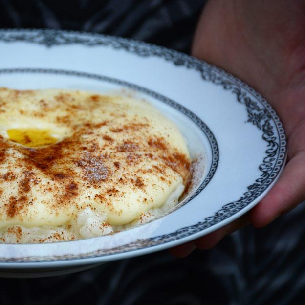 Sour cream porridge with rice porridge underneath