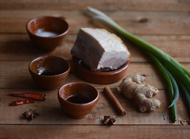 All the ingredients for red-braised pork