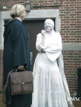 A student interacts with an NPC ghost. Photo by Learn Larp LLC.