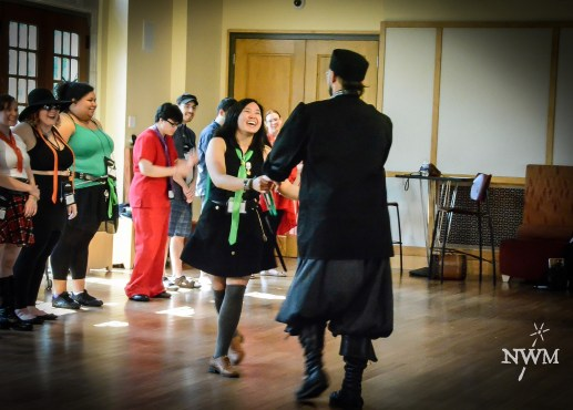 Students take dance lessons with the Chancellor in NWM3. Photo courtesy of Learn Larp LLC.