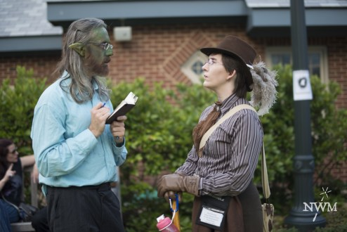 A goblin journalist interviews a professor in NWM4. Photo by Learn Larp LLC.