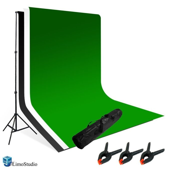 Backdrop holder with different backdrops.