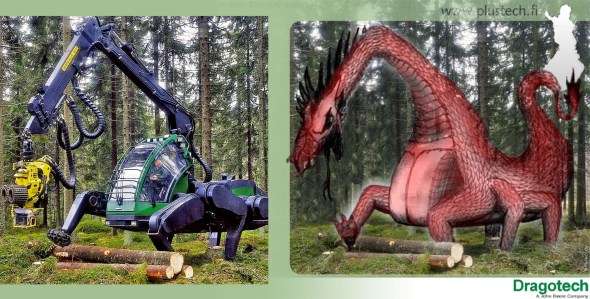 A mechanical contraption in the forest, alongside an image of a red dragon drawn over the image