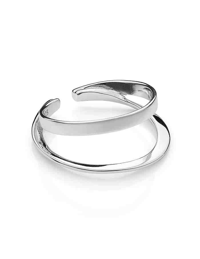 Silver Adjustable Double Layer Ring