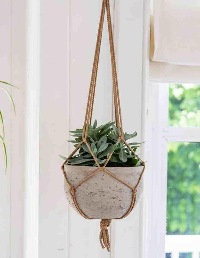 Grey Hanging Plant Pot, Concrete