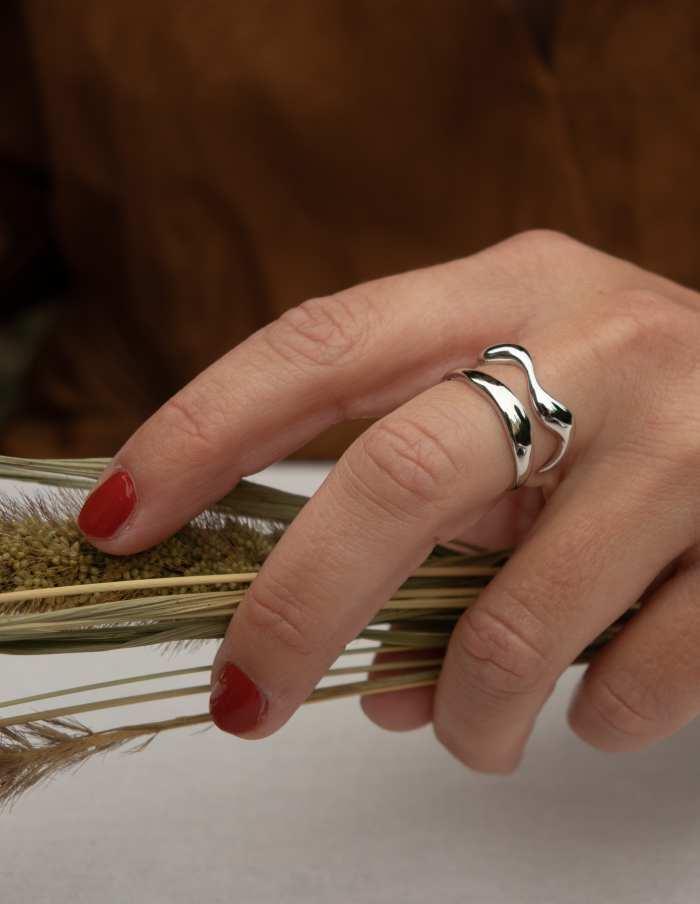 Silver Adjustable Wave Ring