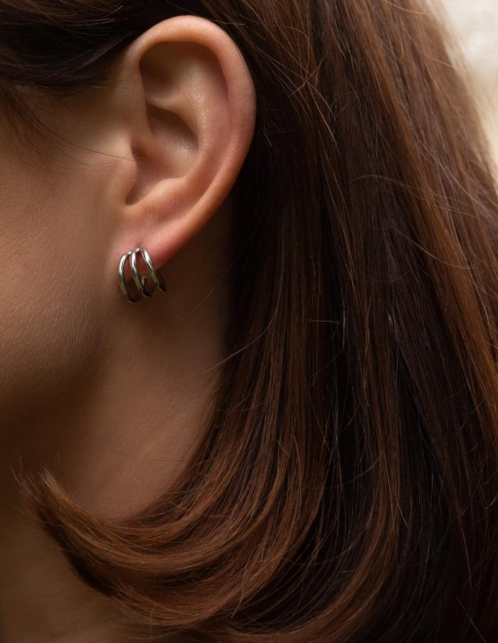 Silver Triple Huggie Earrings