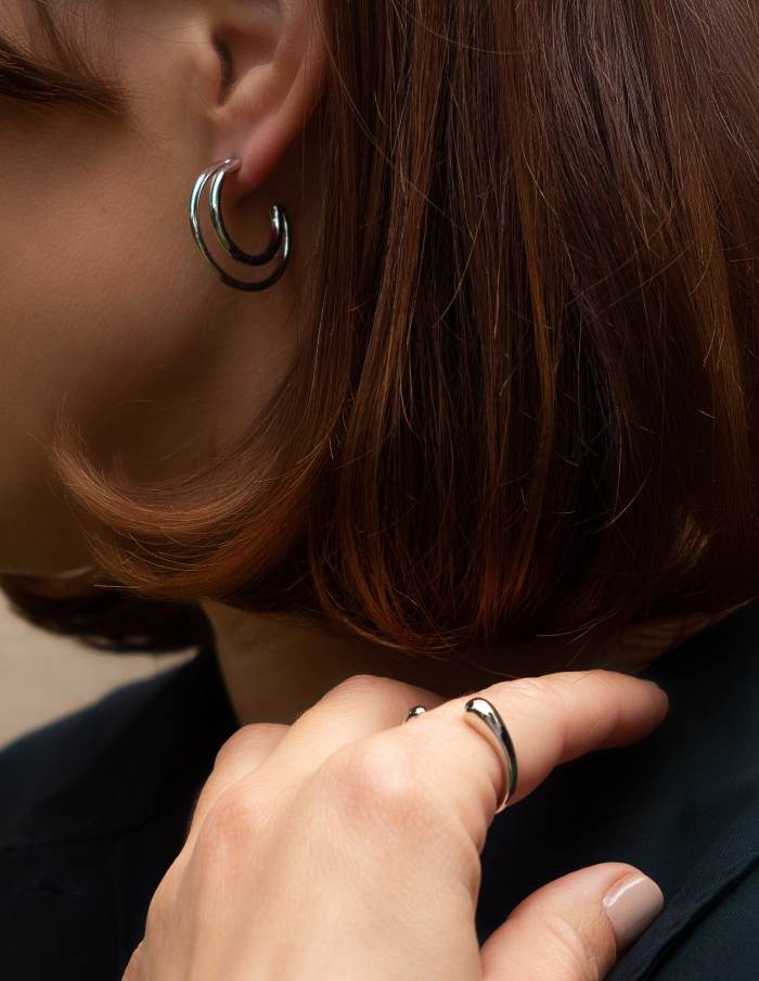 Silver Double Layered Hoop Earrings
