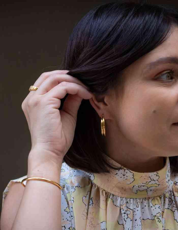 Gold Layered Hoop Earrings, Waterproof