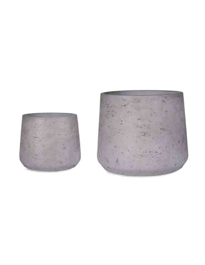 Grey Tapered Plant Pots, Set of 2