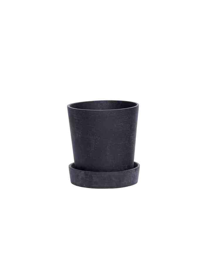 Medium Black Tapered Plant Pot, Hübsch