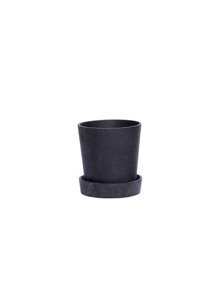 Small Black Tapered Plant Pot, Hübsch