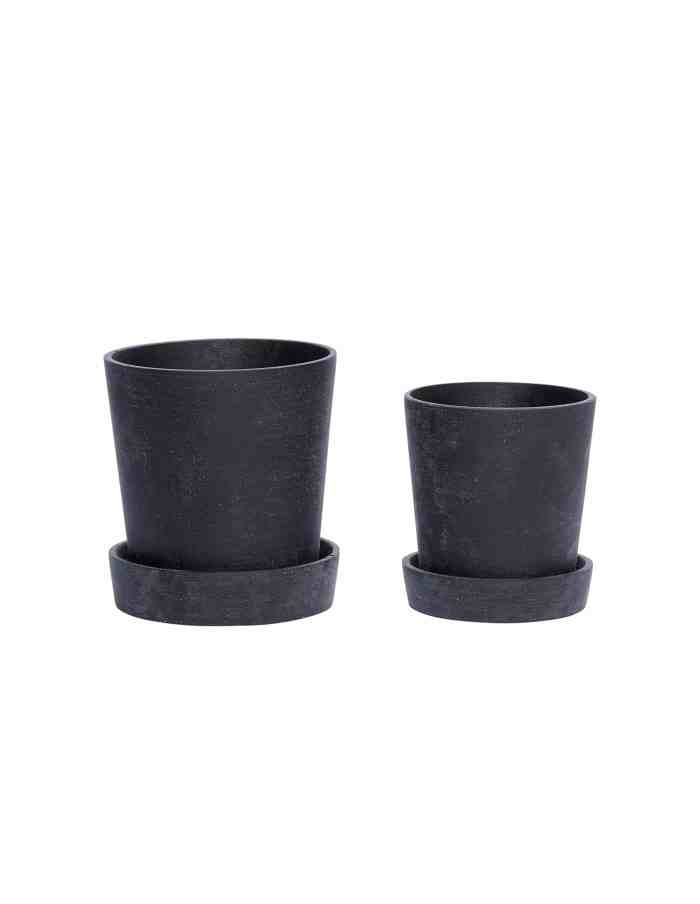 Black Tapered Plant Pot Set, Hübsch