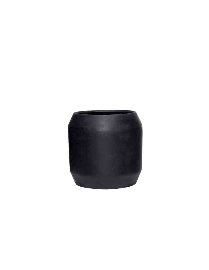 Medium Black Rounded Plant Pot, Hübsch