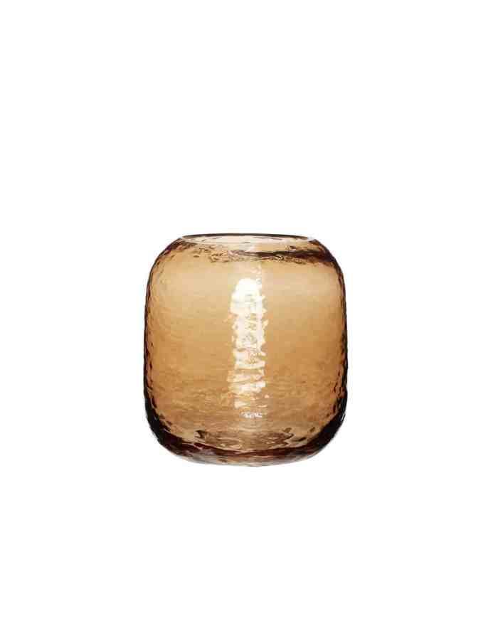Round Amber Glass Vase, Hubsch