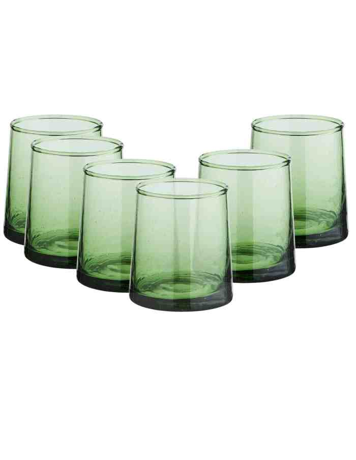 Set of 6 Low Recycled Moroccan Beldi Glasses, Green