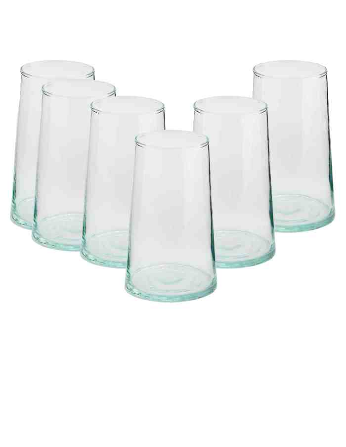 Set of 6 Highball Recycled Moroccan Beldi Glasses, Clear