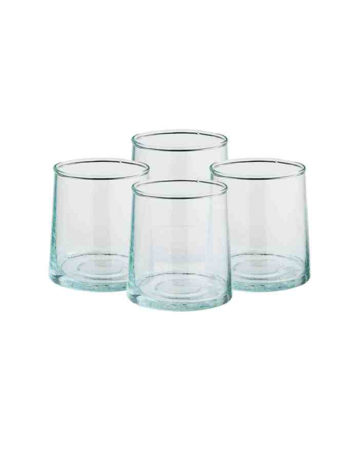 Set of 4 Clear Mid Recycled Moroccan Beldi Glasses