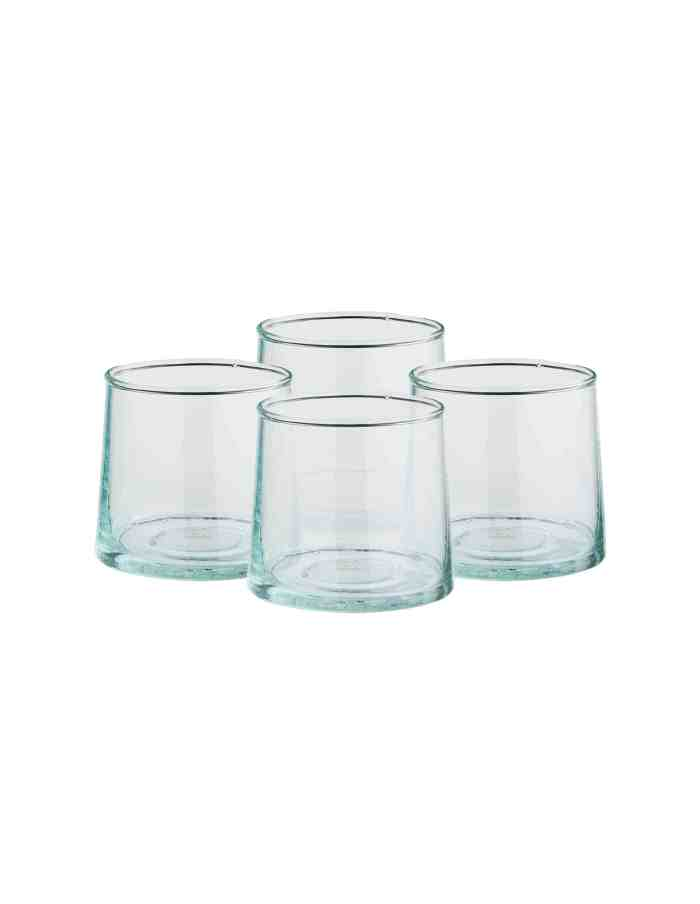 Set of 4 Low Recycled Moroccan Beldi Glasses, Clear
