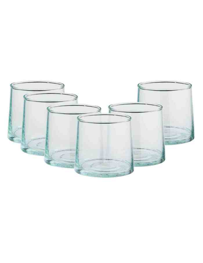 Set of 6 Low Recycled Moroccan Beldi Glasses, Clear