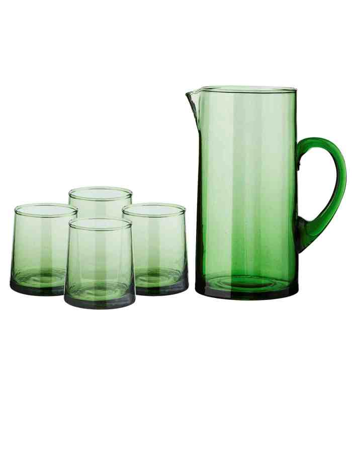 Set of Tall Recycled Moroccan Jug and 4 Mid Glasses, Green