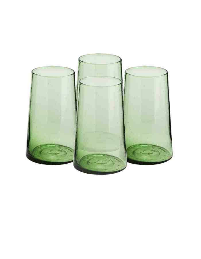 Set of 4 Highball Recycled Moroccan Beldi Glasses, Green