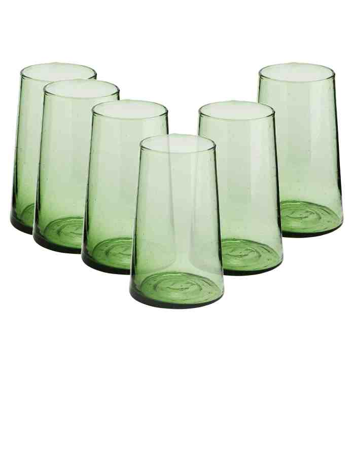 Set of 6 Highball Recycled Moroccan Beldi Glasses, Green
