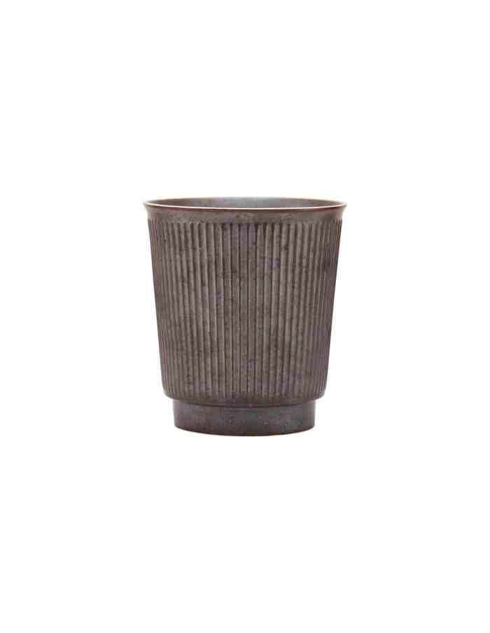 Brown Ribbed Stoneware Mug, House Doctor