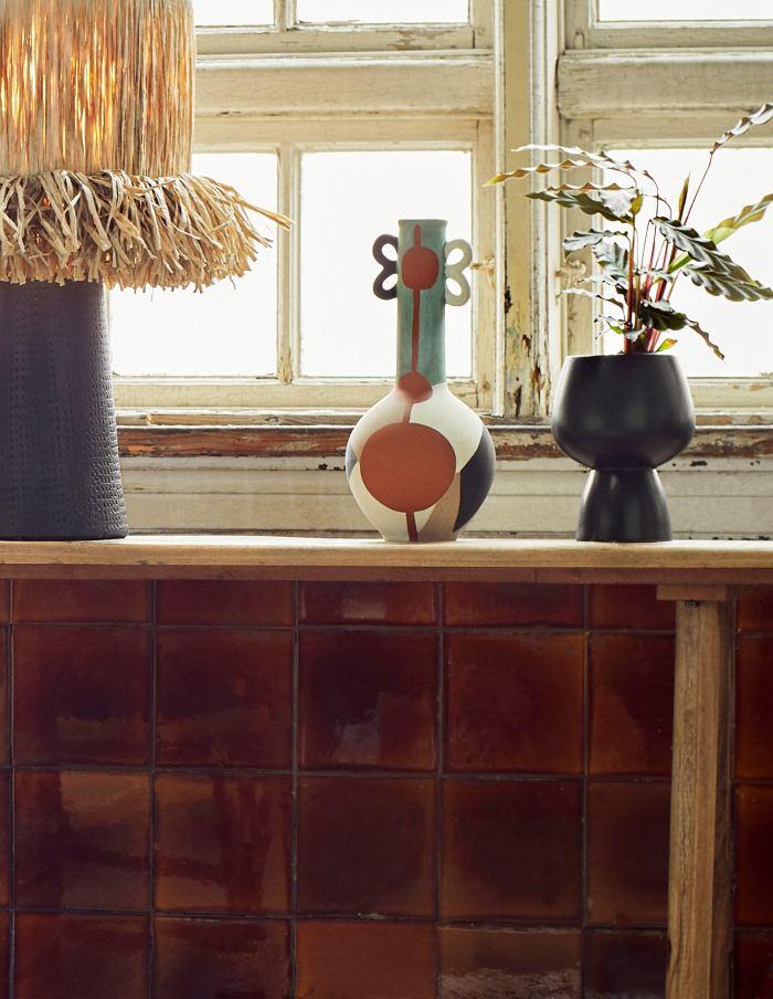 Black Ceramic Pedestal Vase, Madam Stoltz