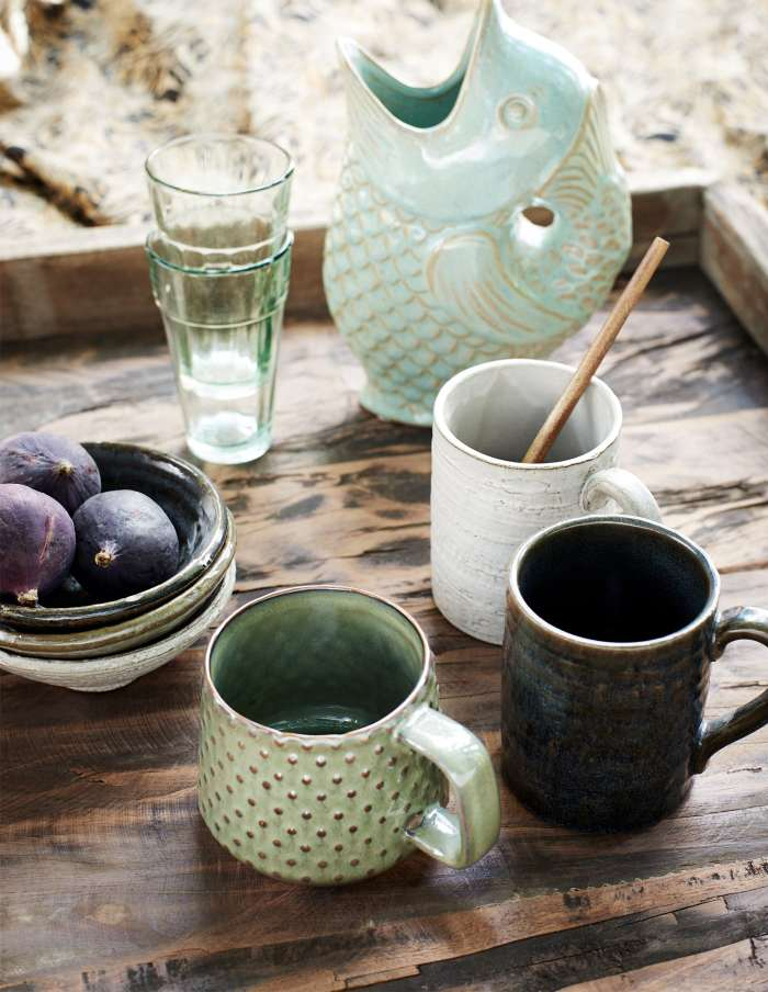 Set of Six Stoneware Mugs, Madam Stoltz