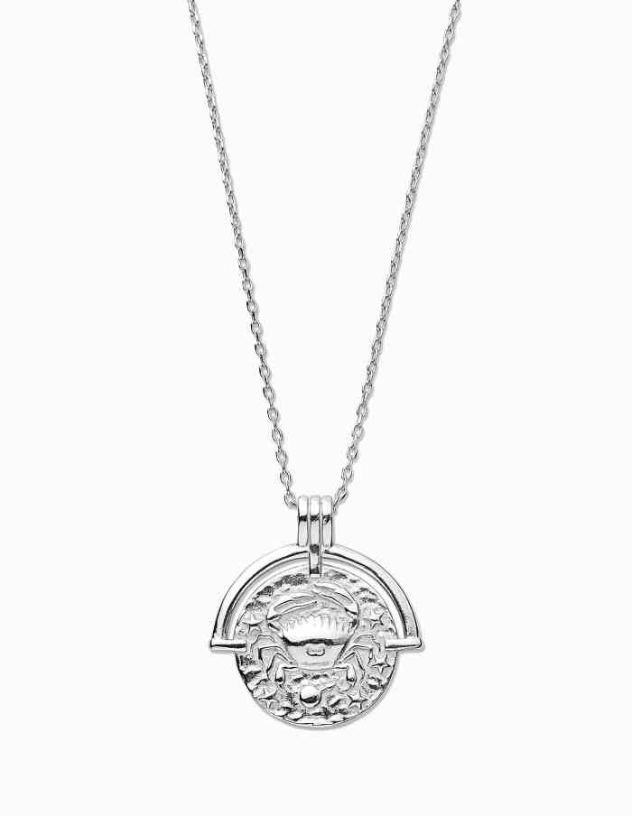 Cancer Zodiac Necklace with Coin Pendant, Sterling Silver