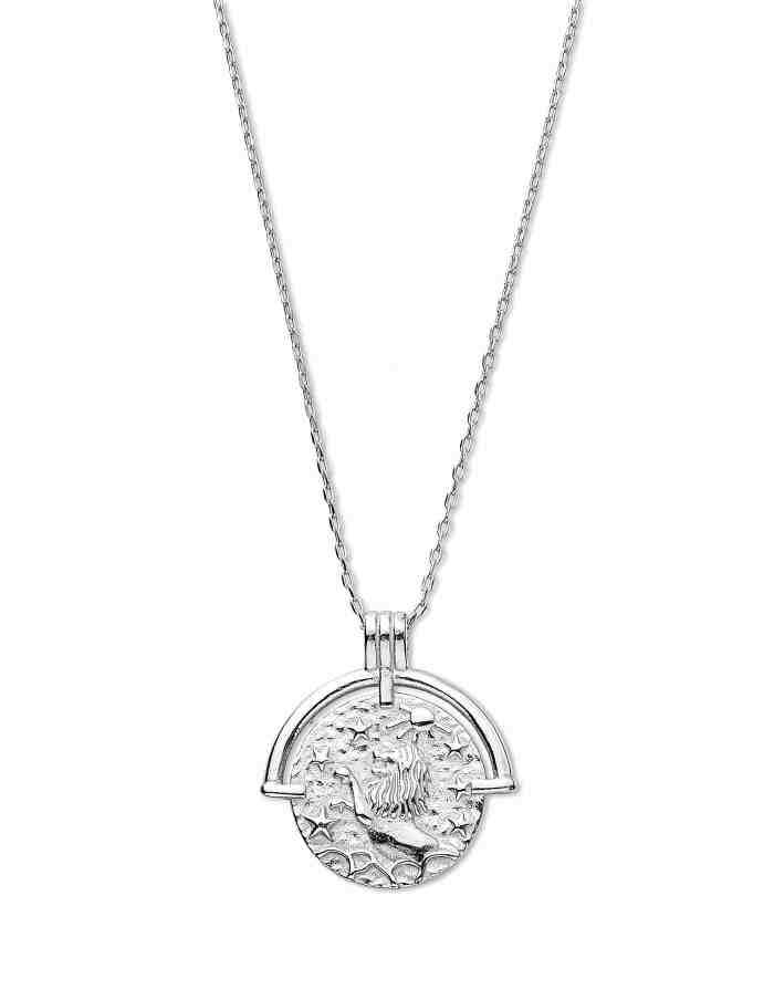 Leo Zodiac Necklace with Coin Pendant, Sterling Silver
