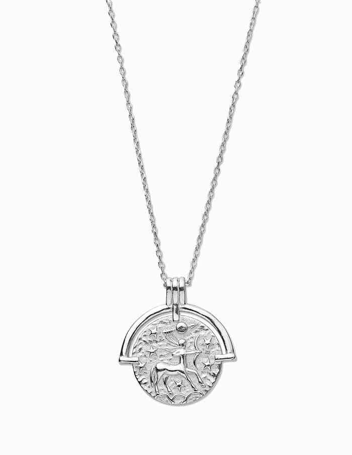 Sagittarius Zodiac Necklace with Coin Pendant, Sterling Silver