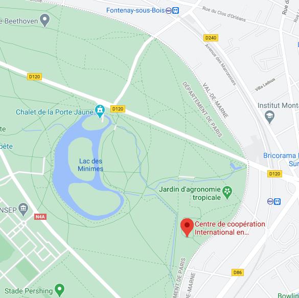 Carte du Bois de Vincennes, Jardin d'Agronomie Tropicale