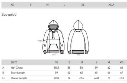 essentials hoodie sizes