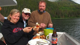 Eating dungeness crab