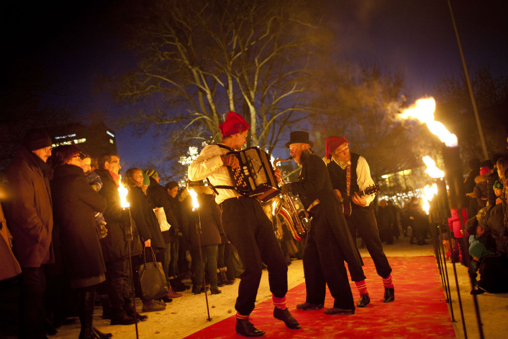 Entertainment at H.C. Andersen's Christmas Market in Odense, Denmark