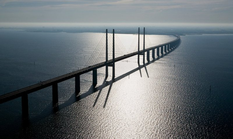 Aerial photo of the Oresund Bridge.