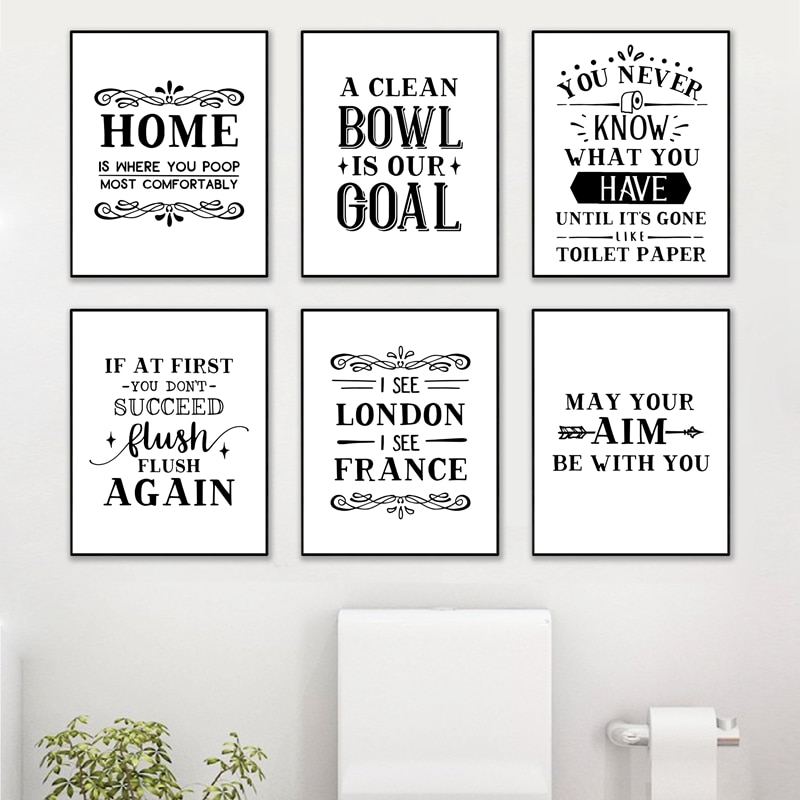 Bathroom Wall Art Decor Funny Bathroom Signs Posters And Prints Modern Minimalist Art Painting Wall Picture Toilet Decoration Nordic Wall Canvas Home And Decoration