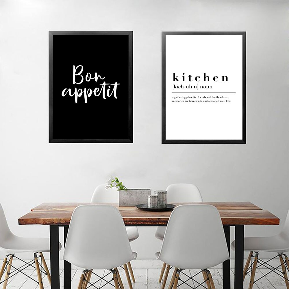 Kitchen Dining Room Wall Art Prints Decorative Pictures Nordic Black White Posters Bon Appetit Quotes Wall Art Canvas Paintings Nordic Wall Decor