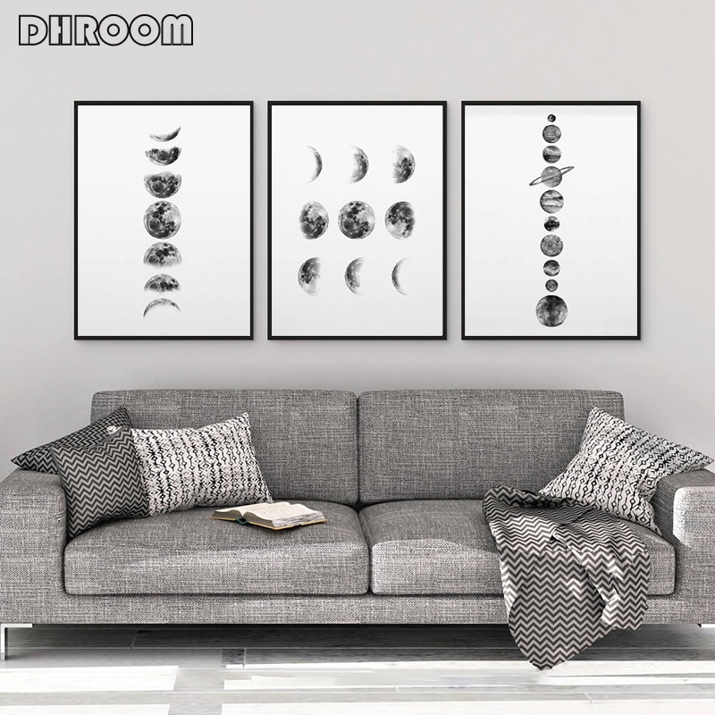 Solar System Wall Art Black And White Moon Phases Canvas Art Prints Minimalist Space Poster Painting For Living Room Home Decor Nordic Wall Decor