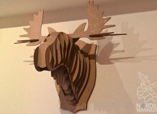 Elchgeweih für die Wand, Elchkopf, Tchibo, 3D-Modell, Holz, Norwegen, Schweden, Finnland, Puzzle, Skandinavien, Wandschmuck