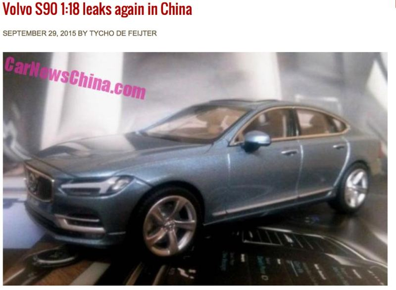 Volvo S90 - mal wieder. Hier in der Car News China.