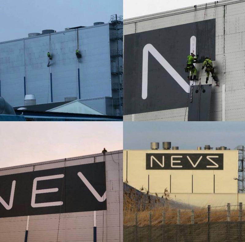NEVS Schriftzüge am ehemaligen Saab Werk. Foto Credit: NEVS
