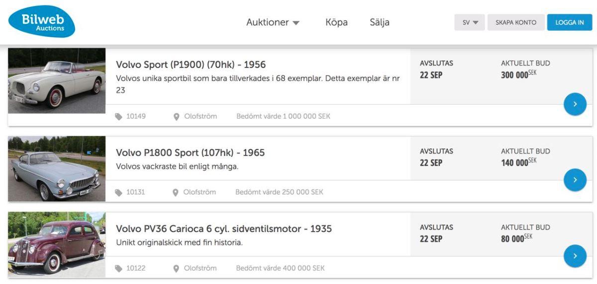 Große Volvo Auktion in Olofström online