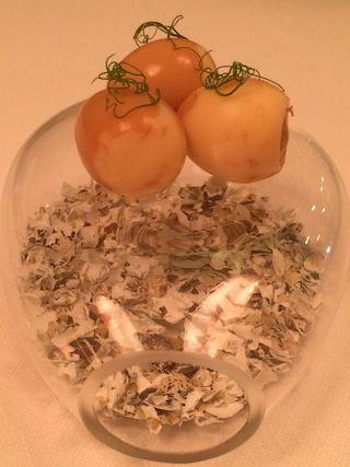 Quail eggs marinated in homemade pea soy sauce